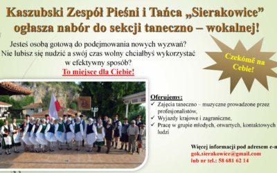 Trwa nabór do Kaszubskiego Zespołu Pieśni i Tańca – Sierakowice.